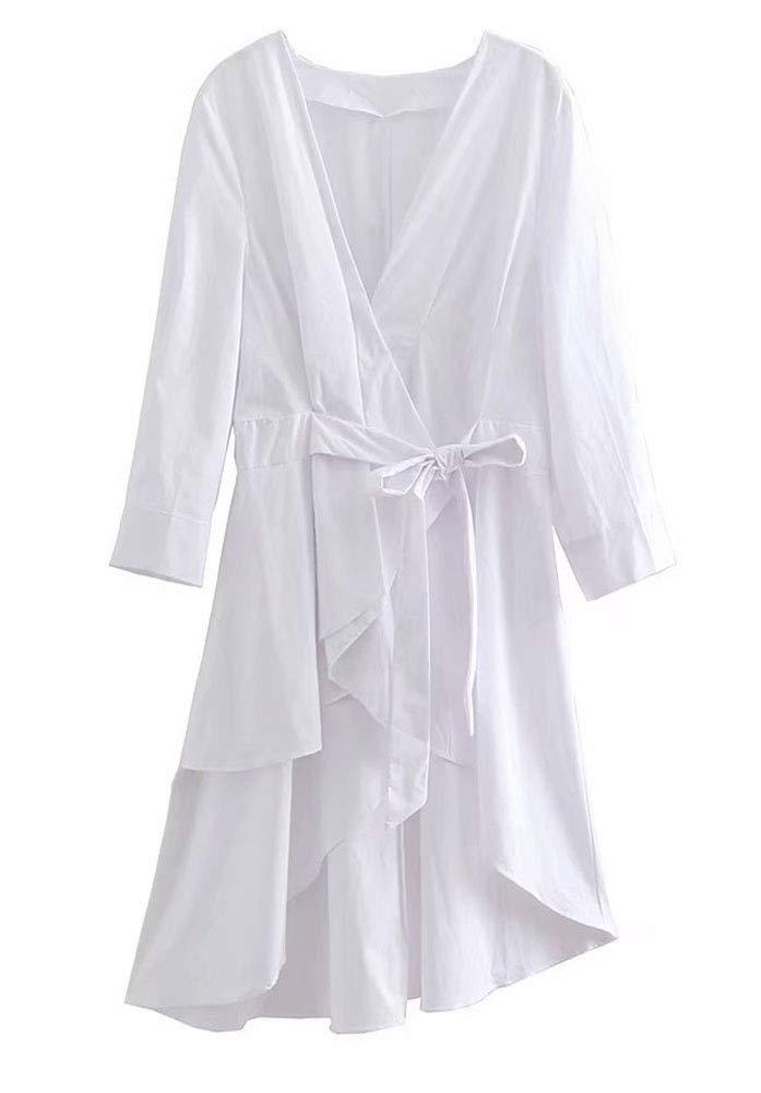 e4986398f XIAOKEAI XIAOKEAI XIAOKEAI Abrigo AsiméTrico De Manga Larga con Una  Chaqueta Larga Y Una Camisa Blanca