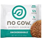 No Cow Protein Cookie, Snickerdoodle, 12g Plant Based Protein, Low Sugar, Dairy Free, Gluten Free, Vegan, 12 Count