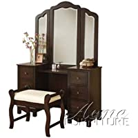 ACME Furniture Jasper Espresso Bedroom Vanity and Stool - Mirror Sold Separately