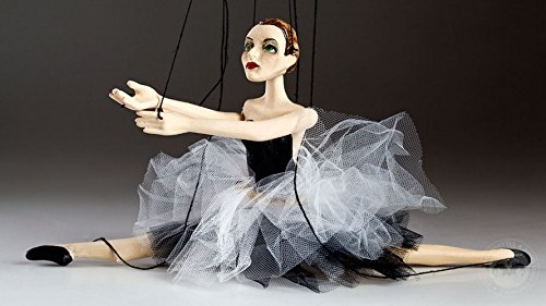 Ceramic Ballerina Marionette - Handmade String Puppet Ballerina Hand Puppet