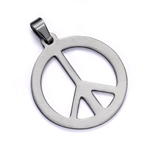 IBLUE Jewelry Men's Stainless Steel Pendant Necklace Silver Peace Symbol Classic -with 24 inch (Peace Pendant Necklace)