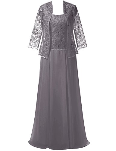 Prom Bride Jacket Gray Long Womens Dresses of Mother Cdress Chiffon the Lace with Formal Hfqx7