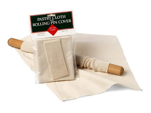 Unbleached Cotton Pastry Cloth and Rolling Pin Cover Set by Kitchen Supply