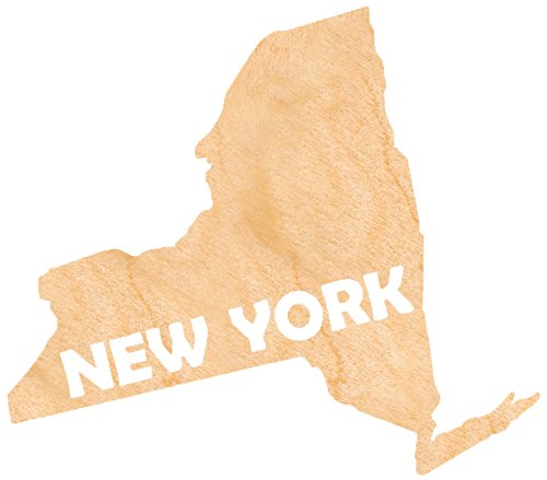 aMonogram Art Unlimited State Of New York Wooden Shape With State Name and 1/4 Burch plywood Wall Decor, 24''