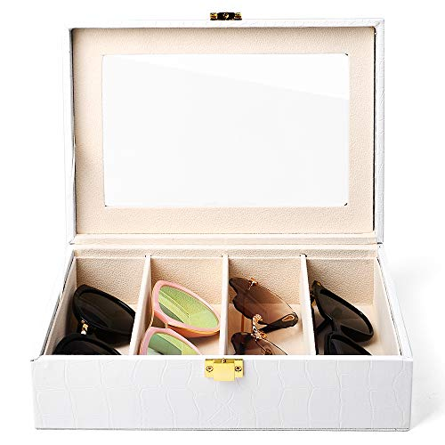 - Oirlv White Leather Women Men Sunglasses Organizer Eyewear Storage Box with Lid and Lock