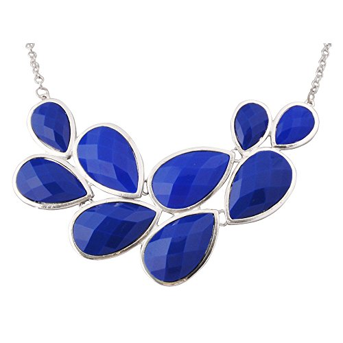JANE STONE Popular Blue Fashion Statement Pendant Necklace for Women (Fn0564-S-Royal Blue)