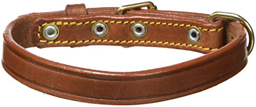 Petego La Cinopelca Classic Leather Smooth Finish Flat Collar, Brown, 1/2 Inch, Fits 11 Inches to 14 Inches