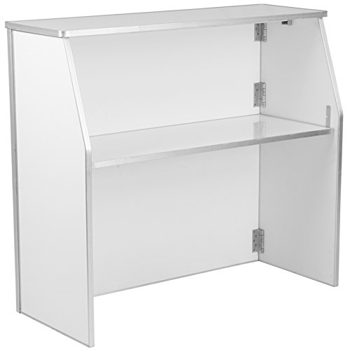 StarSun Depot 4' White Laminate Foldable Bar 47.75'' W x 19.5'' D x 42.75'' H