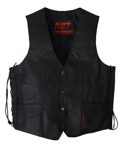 Hot Leathers Men's Heavy Weight Leather Vest (Black, X-Large) by Hot Leathers