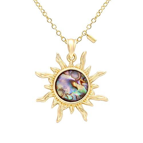 MANZHEN Gold Tone Fashion Sun Sunflower Pendant Natural Abalone Shell Charm Necklace for Women(Gold)