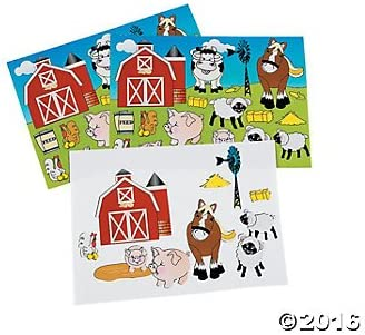Make a FARM ANIMAL Sticker Sheets COW HORSE PIG 2 Dozen Teacher CLASSROOM Doctor Dentist DAYCARE Party Favors 24 Barn Scenes