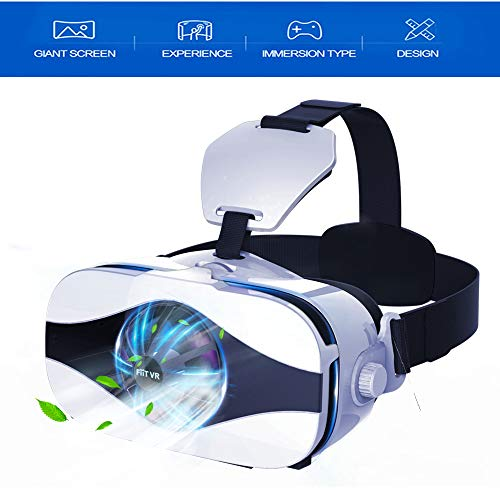 "VR Headset/3D Glasses, Virtual Reality Headset with Cooling Fan & Cardboard APP Button for iPhone Xs Max XR X 8 7 6S 6 Plus Android Samsung Galaxy S9 S8 S7 S6 Edge S5 & Other 4.7-6.3"" Cellphones"