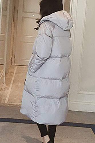 Libero Libero di Giaccone Outerwear Incappucciato Invernali Ragazza Ragazza Tempo Giacca Trapuntata Donna Eleganti Outdoor Trapuntato Grey Manica Lunga Addensare Moda Sciolto Chic Caldo Lunga Cappotto a7Rzdq1WR