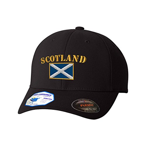- Scotland Flag Flexfit Pro-Formance Embroidered Cap Hat Black Large/X-Large