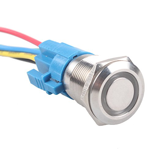 E Support™ Momentary 19mm 12V 5A Blue LED Light Angel Eye Metal Push Button Toggle Switch Socket Plug Wire Home Office