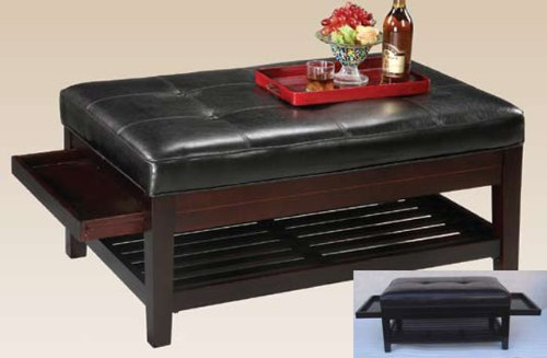 Espresso Leather Bench w/ Pull Out Trays for Family, Living Room