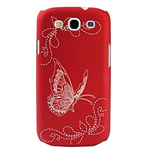 Nsaneoo - Butterfly Pattern Hard Case for Samsung Galaxy S3 I9300 (Assorted Colors) , Red