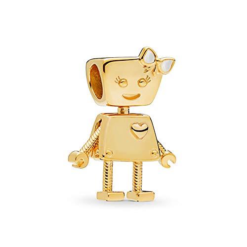 Romántico Amor Bella Bot Charm Gold Plated robot Silver Bead fit Pandora Bracelets (Gold Pandora)