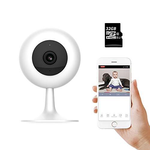 IMI Xiaomi Wireless WiFi Baby Camera Monitor HD 1080P Indoor Security Home Surveillance Smart Webcam 2-Way Audio Night Vision Pre-Installed 32G Card Motion Detection iOS,Android App-Baby Pet Elder