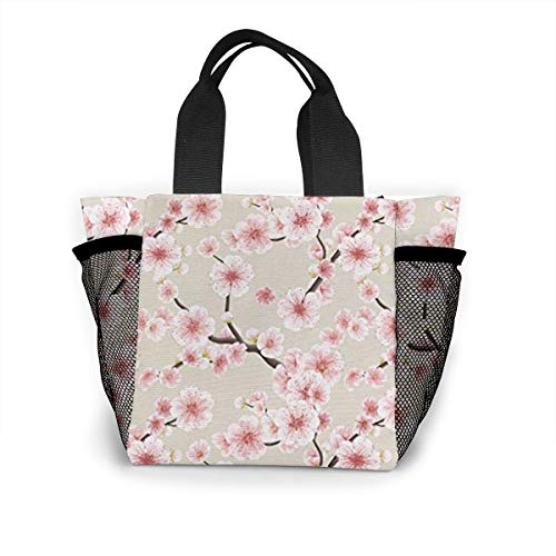 - Vbcdgfg Tote Lunch Bag,Pink Cherry Blossoms Print Large Cooler Bag Container Thermal Cooler Pack Picnic Bag for Women&Men Travel Office Beach