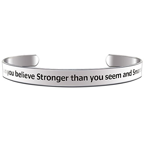 You are Braver Than you Believe Stronger Than you Seem... Inspirational Cuff Bracelet
