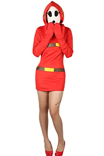 [Shy Girl Costume Mask Set Red Dress Cosplay Halloween Party Women Size XL] (Hot Halloween Costumes For Guys)