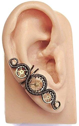 Bronze 3-Gear Woven-Wire Steampunk Ear Cuff ()