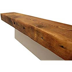 "ParkCo Rustic Fireplace Mantel Floating Wood Shelf - Reclaimed Barn Wooden Beam Wall Decor, Mounted Farmhouse Shelving, Solid Decorative Ledge Organizer - with Hardware - 30"" W X 7"" D X 2 3/4"" H"