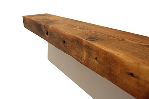 Brown Mahogany Electric Fireplace (Rustic Fireplace Mantel Floating Wood Shelf - Reclaimed Barn Wooden Beam Wall Decor, Mounted Farmhouse Shelving, Solid Decorative Ledge Organizer - With Hardware - 54