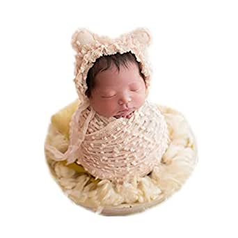 Vemonllas Newborn Baby Photography Props Outfits Hat Long Ripple Wrap Set for Boys Girls Photography - Beige - Medium