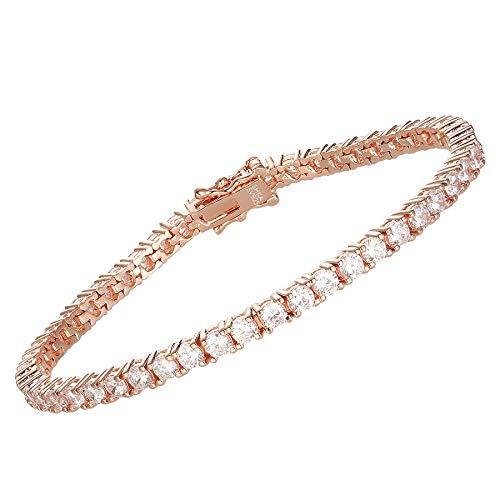 SHKA 925 Sterling Silver Round Cut Tennis Bracelet 18K Women