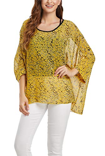 Nicetage Lady Bohemian Floral Plus Size Semi Sheer Loose Tops HS166New-4360