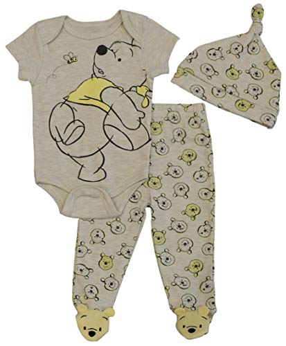 Winnie the Pooh Disney Baby Boys Creeper, Pants, and Hat Set (6-9M) Heather Beige