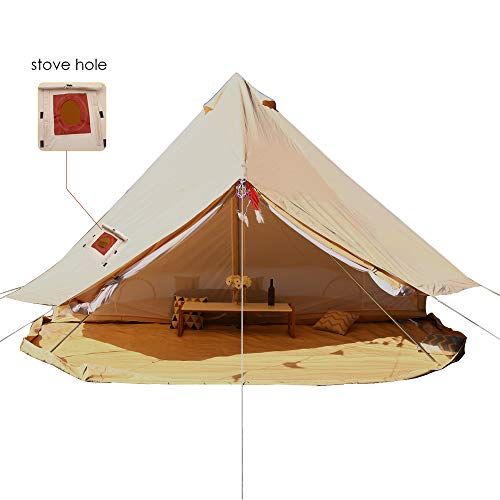 PlayDo 4 Season Cotton Canvas Bell Tent Camping Yurts Tent Hunting Wall Tent with Stove Hole and Divider Inner Tent (5M/16.4FT)