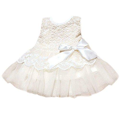 PanDaDa Baby Girls Bowknot Lace Dresses Sleeveless Princess Skirt Party 0-3y