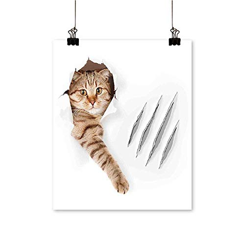 for Home Decoration Cat in Wallpaper Hole with Claw Scratches Playful Kitten Cute Pet Picture Brown for Home Decoration No Frame,24