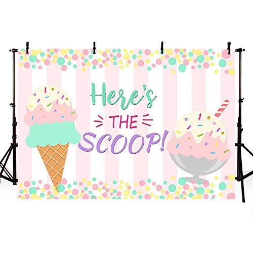 MEHOFOTO Ice Cream Photo Studio Background Princess Girl Birthday Here's The Scoop Party Banner Pink Stripes Colorful Polka Dots Photography Backdrops for Cake Table Supplies 7x5ft