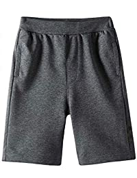 Spring&Gege Boys Casual Soft Cotton Elastic French Terry Jogger Active Pocket Shorts