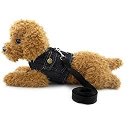 SMALLLEE_LUCKY_STORE XY000335-Darkblue-S Dog/Cat Soft Mesh Leash Padded Denim Vest Harness, Dark Blue, Small