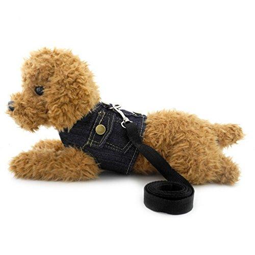 - smalllee_lucky_store Dog/Cat Soft Mesh Leash Adjustable Denim Vest Harness, Dark Blue, Medium