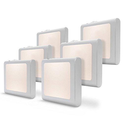 [6Pack] Vintar Dimmable LED Night Light, Plug-in Nightlight with Auto Dusk to Dawn Sensor,Adjustable Brightness Warm White Lights for Hallway,Bedroom, Kids Room, Kitchen, Stairway,Bathroom