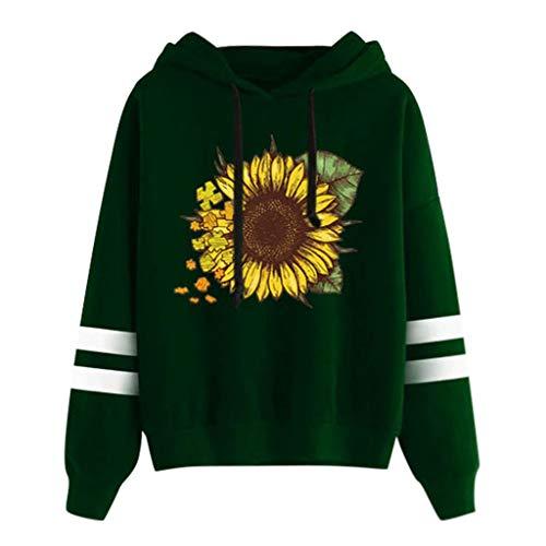 Nihewoo Womens Sweater Junior Girl's Hoodies Pullover Sunflower Printed Jumper Hooded Blouse School Tops Shirt Green