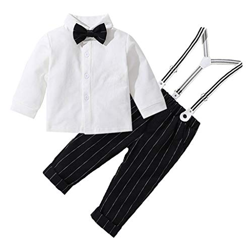 Overall Jumpsuit Shorts,Toddler Baby Kids Boys Gentleman Stripe Top T-Shirt Plaid Trousers Pants Set,Baby Girls' One-Piece Rompers,White,2-3T