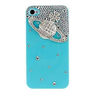 conseguir Silver Saturno con Diamond Cubierta dura del caso con el pegamento para el iPhone 4/4S (colores surtidos) , Rosa