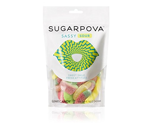 Sugarpova Sassy Sour Fruit Flavored and Shaped Gummy Candy - 6 Count Case