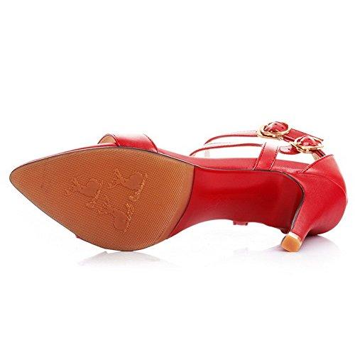 Aalardom Kvinna Mjukt Material Öppen Tå Höga Klackar Spänne Sandaler Röda