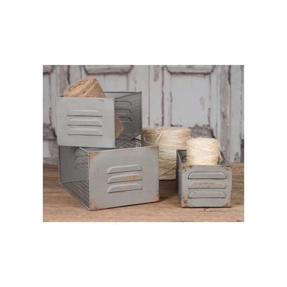 Vintage Industrial Metal Locker and Wire Storage Bins Baskets Boxes Set of 3 -  - living-room-decor, living-room, baskets-storage - 41iu5giFXqL. SS570  -