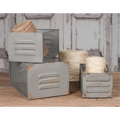(Vintage Industrial Metal Locker and Wire Storage Bins Baskets Boxes Set of)