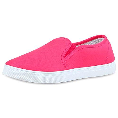 napoli-fashion Dame Sneaker Slip-Ons Glitzer Schuhe Metallic Neon Stoffschuhe Turnschuhe Camouflage Bequeme Freizeitschuhe Flats Jennika Pink