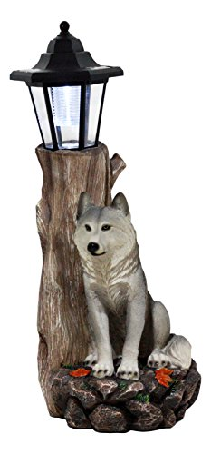 Ebros Gift Large Sentry Gray Wolf by Forest Outpost Statue with Solar Powered LED Lantern 17'' H Cries of The Night Wolf Totem Spirit Collection by Ebros Gift